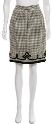Jean Louis Scherrer Jean-Louis Scherrer Velvet-Accented Knee-Length Skirt