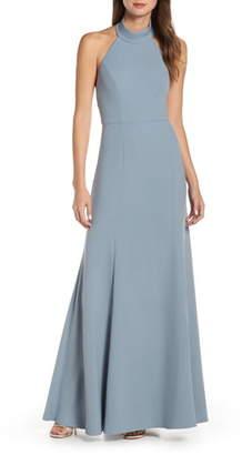 Jenny Yoo Petra Halter Crepe Evening Dress
