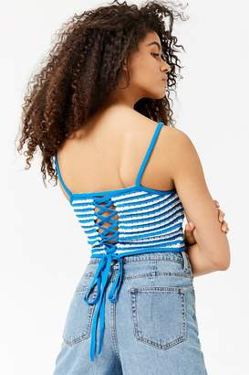 Forever 21 Striped Lace-Up Cami