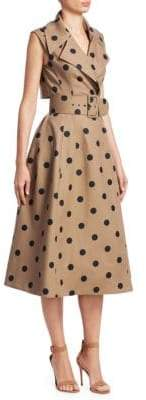 Oscar de la Renta Polka Dot Sleeveless Wrap Belted A-line Dress