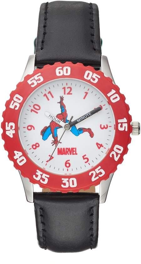 Marvel Spider-Man Boy's Leather Time Teacher Watch