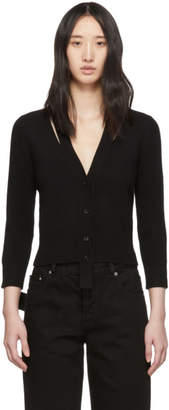 Alexander McQueen Black Wool Three-Quarter Sleeve Cardigan