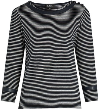 A.P.C. Cobob striped cotton-jersey T-shirt $155 thestylecure.com