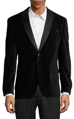 Tallia Orange Slim-Fit Peak Lapel Velvet Jacket