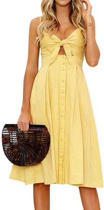 WLLW Women Tie Front V Neck Button Front High Waist Pleated Midi Dress Sundress
