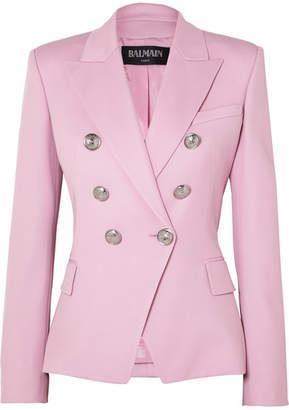 Balmain Double-breasted Wool-twill Blazer - Pink