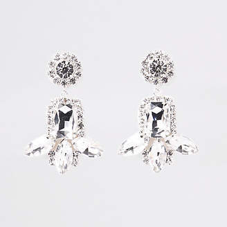 River Island Silver tone jewel rhinestone drop stud earrings