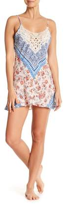 In Bloom by Jonquil Sky Crochet Lace Mixed Print Chemise