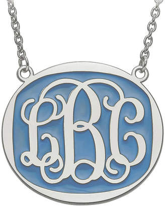 FINE JEWELRY Personalized 32mm Sterling Silver Enamel Oval Monogram Necklace