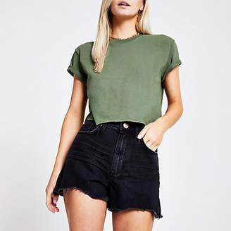 5690060c6bc River Island Petite black Annie high waist shorts