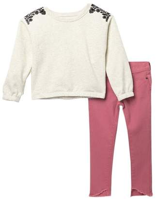 Joe's Jeans Floral Pullover & Jeans Set (Toddler Girls)