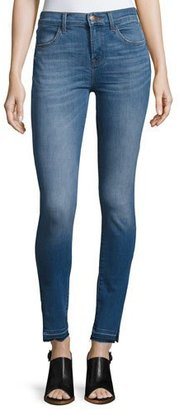 J Brand Maria High-Rise Skinny Side-Slit Jeans with Released Hem, Angelic $198 thestylecure.com