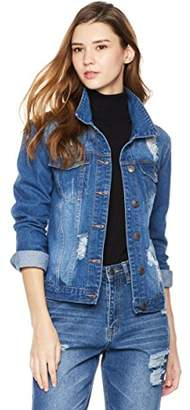 Parker Lily Women's Distressed Button Front Stretch Denim Jacket
