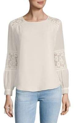 Nanette Lepore Lace-Insert Long-Sleeve Top