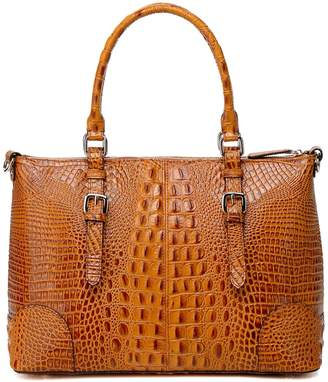Vicenzo Leather Carole Croc Embossed Leather Tote