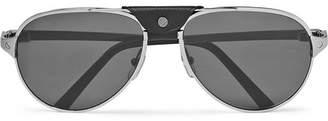 Cartier Eyewear - Santos de Aviator-Style Leather-Trimmed Silver-Tone Sunglasses