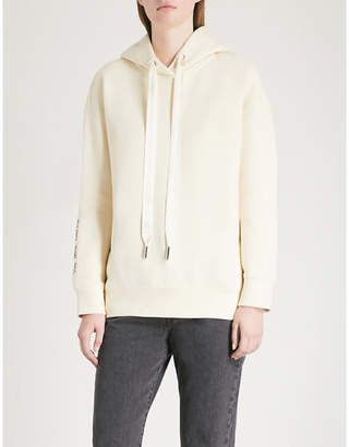 Mo&Co. Slogan-embroidered cotton-jersey hoody