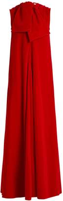 Maison Rabih Kayrouz Sleeveless neck-tie cotton-velvet gown