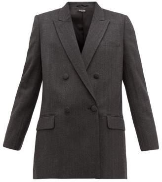 Miu Miu Double Breasted Wool Tweed Blazer - Womens - Dark Grey