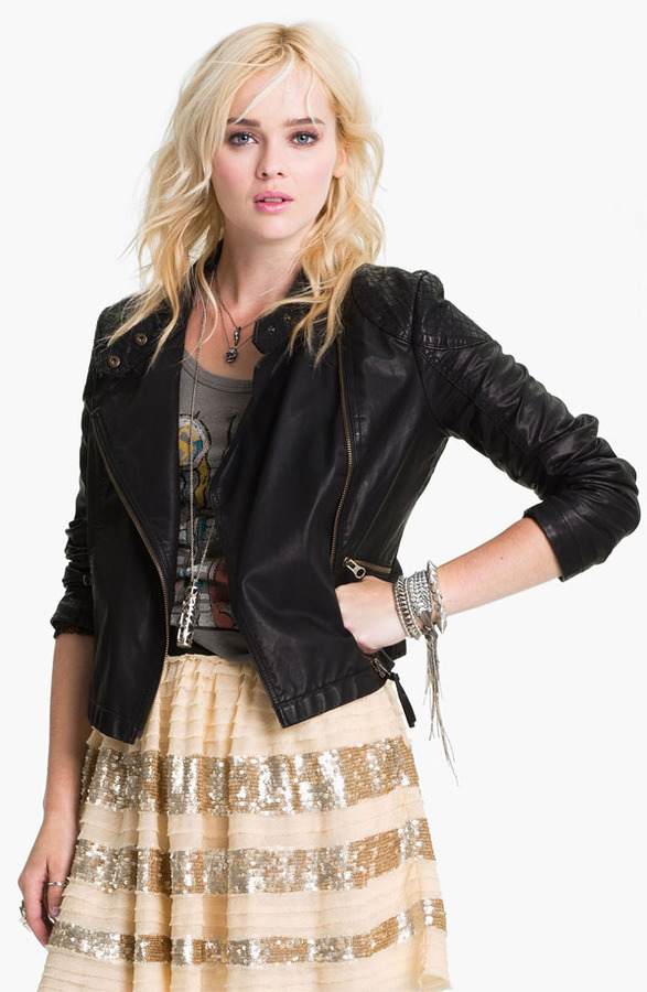 Free People 'Sunburst' Faux Leather Moto Jacket
