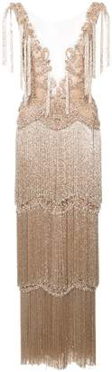 Marchesa embroidered fringed gown