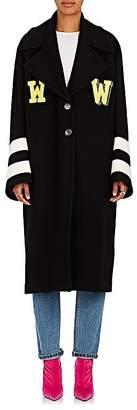 "Off-White Women's ""Grandpa"" Embellished Wool-Blend Melton Coat"