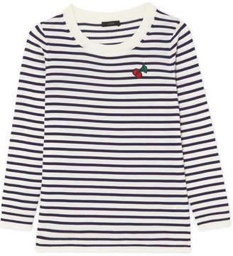 Appliquéd Striped Merino Wool Sweater - Midnight blue