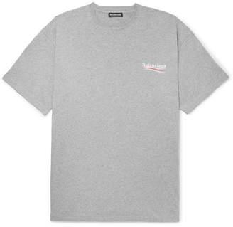 Balenciaga Oversized Logo-Print Mélange Cotton-Jersey T-Shirt