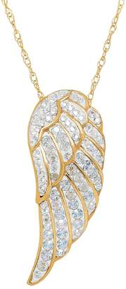 Swarovski Artistique Crystal 18k Gold Over Silver Angel Wing Pendant Necklace - Made with Crystals