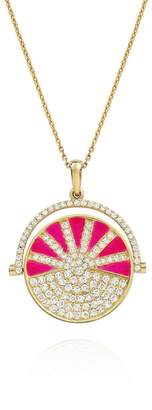 N. NeverNoT Neon Pink Enamel Diamond SHOW TELL Necklace - Yellow Gold