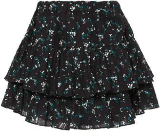 Caroline Constas Anabelle Ruffled Floral-Print Cotton Mini Skirt Size: