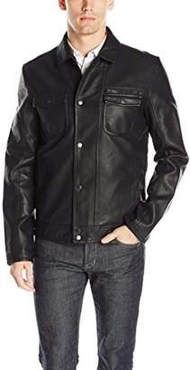 Calvin Klein Jeans Men's Faux Leather Punk Moto Jacket