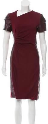 J. Mendel Leather-Accented Virgin Wool Dress