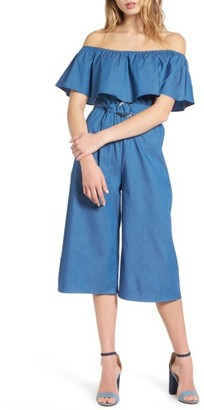 Women's Everly Ruffle Chambray Jumpsuit $55 thestylecure.com