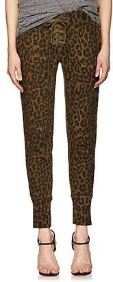 NSF Women's Maddox Lace-Up Leopard-Print Cotton Sweatpants