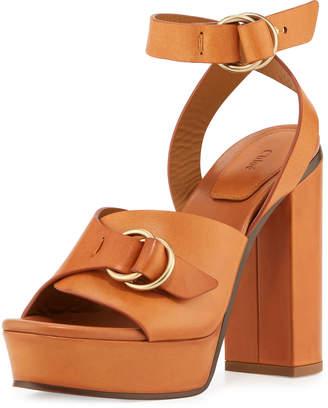 Chloé Kingsley Platform Buckle Sandals, Cognac Brown