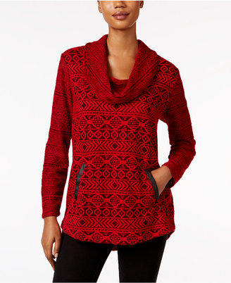 Style & Co. Jacquard Cowl-Neck Knit Top, Only at Macy's $54.50 thestylecure.com