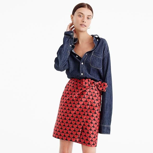 Wrap skirt in jacquard hearts