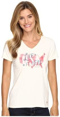 Life is Good Like It Here USA Map Crusher Vee Women's T Shirt