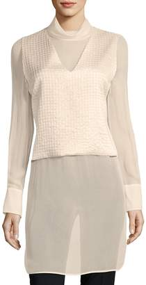 Brunello Cucinelli Women's Contrast Long-Sleeve Silk Top