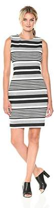 Calvin Klein Women's Sleeveless Round Neck Textured Sheath Dress