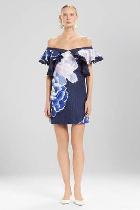 Josie Natori Peony Jacquard Cold Shoulder Dress