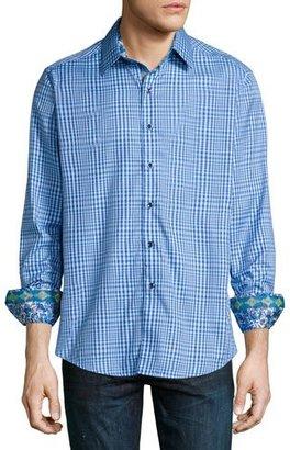 Robert Graham Ocean Liners Check Sport Shirt, Cobalt $228 thestylecure.com