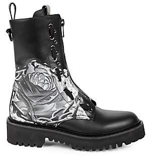 Valentino Women's Undercover Floral Leather Combat Boots