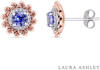 Laura Ashley FINE JEWELRY Genuine Purple Tanzanite 10K Gold Over Silver Flower Ear Pins