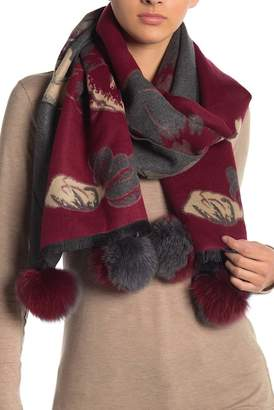 La Fiorentina Floral Genuine Fox Fur Pompom Wrap