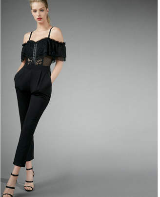 Express Lace Off The Shoulder Jumpsuit $88 thestylecure.com