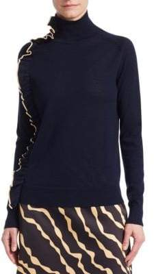 Victoria Beckham Victoria, Ruffle Trim Merino Wool Turtleneck Sweater