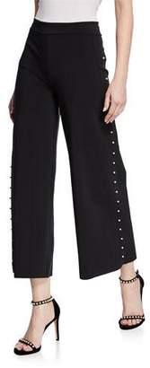 Chiara Boni Norma Cropped Wide-Leg Pants w/ Pearlescent Trim
