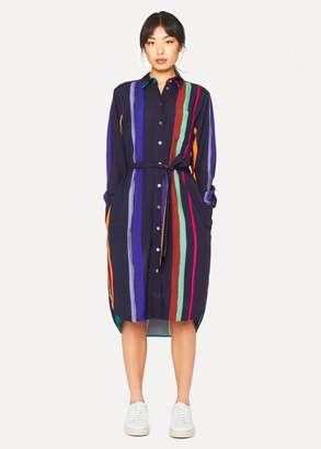 Women's Navy 'Expressive Stripe' Print Shirt Dress